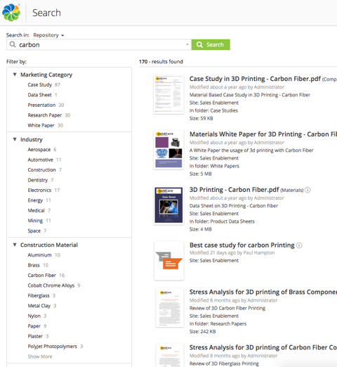 Example of a CMS search page in Alfresco
