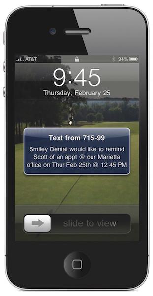 Carestream Dental text message reminder