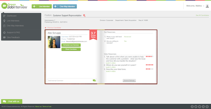 greenjobinterview-candidate-profile-screen