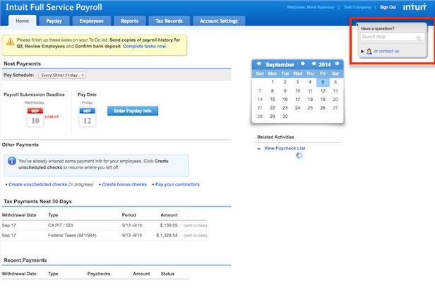 Support on Intuit Full Service Payroll