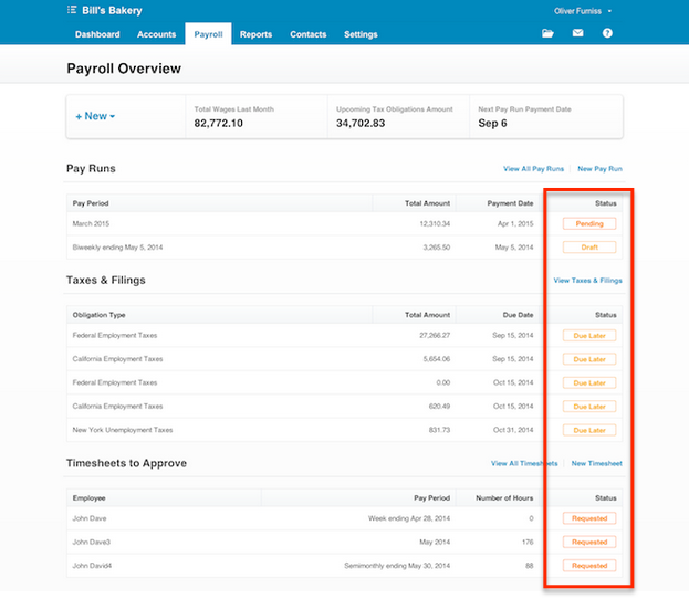 Xero's status column on the Payroll Overview screen