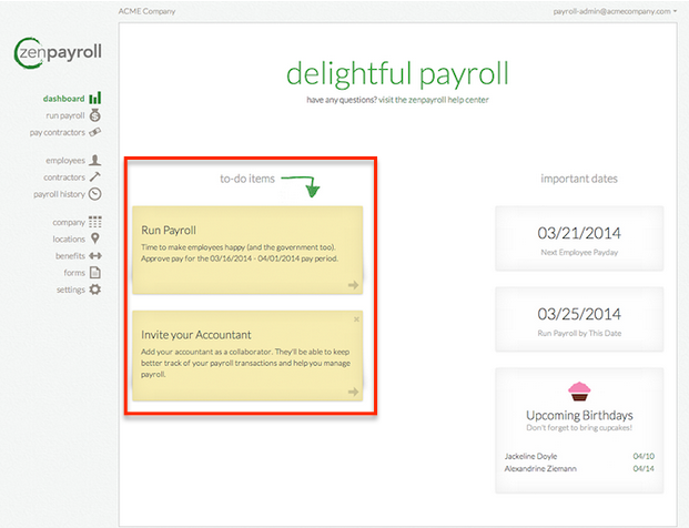 To-do items in the ZenPayroll dashboard