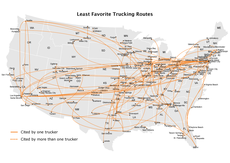 The Most Loved (and Hated) U S  Trucking Routes