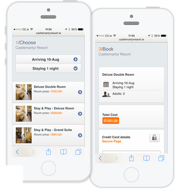 The Bookassist Mobile Webapp reservations screen