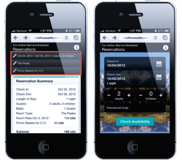 Reservation screens on buuteeq's mobile booking engine