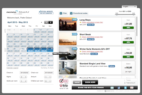 The tablet view of GuestCentric's booking engine