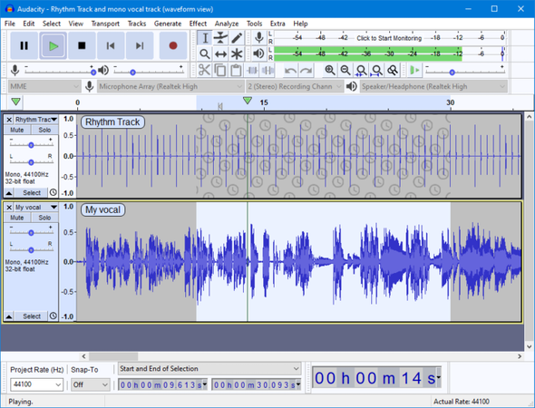 Audacity waveform view