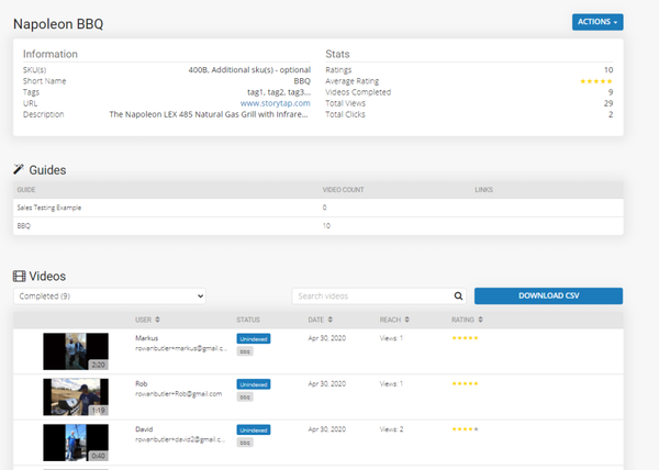 StoryTap product page admin