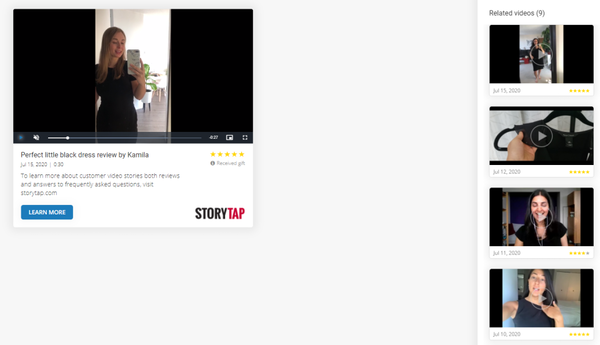 StoryTap video landing page