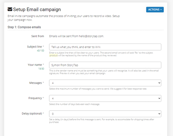 StoryTap email campaigns
