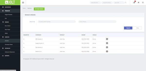 Jolt Fulfillment System vendor management