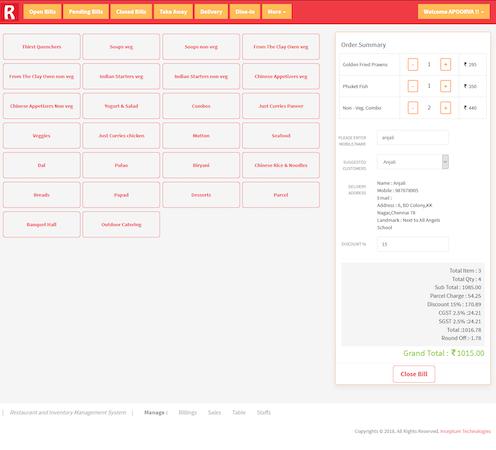 RIMS menu & billing screenshot