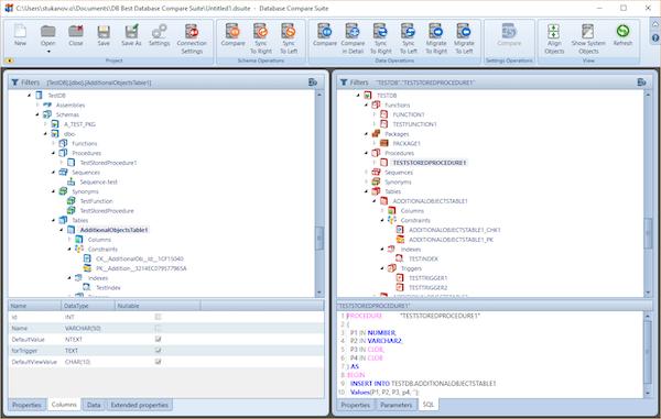 Database Compare Suite comparisons screenshot