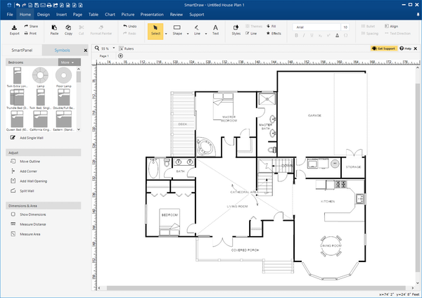 SmartDraw house plan screenshot
