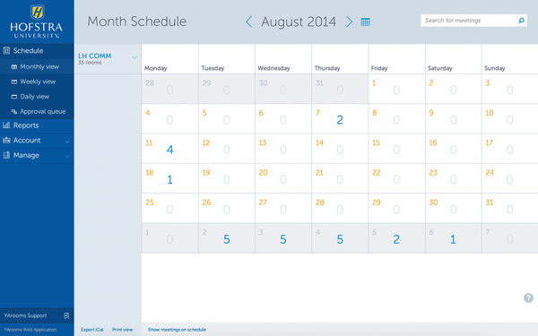 YArooms month schedule