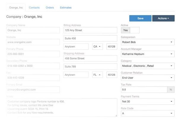 Ordant client details