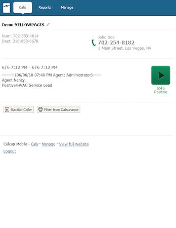 Callcap - Callcap client profile view