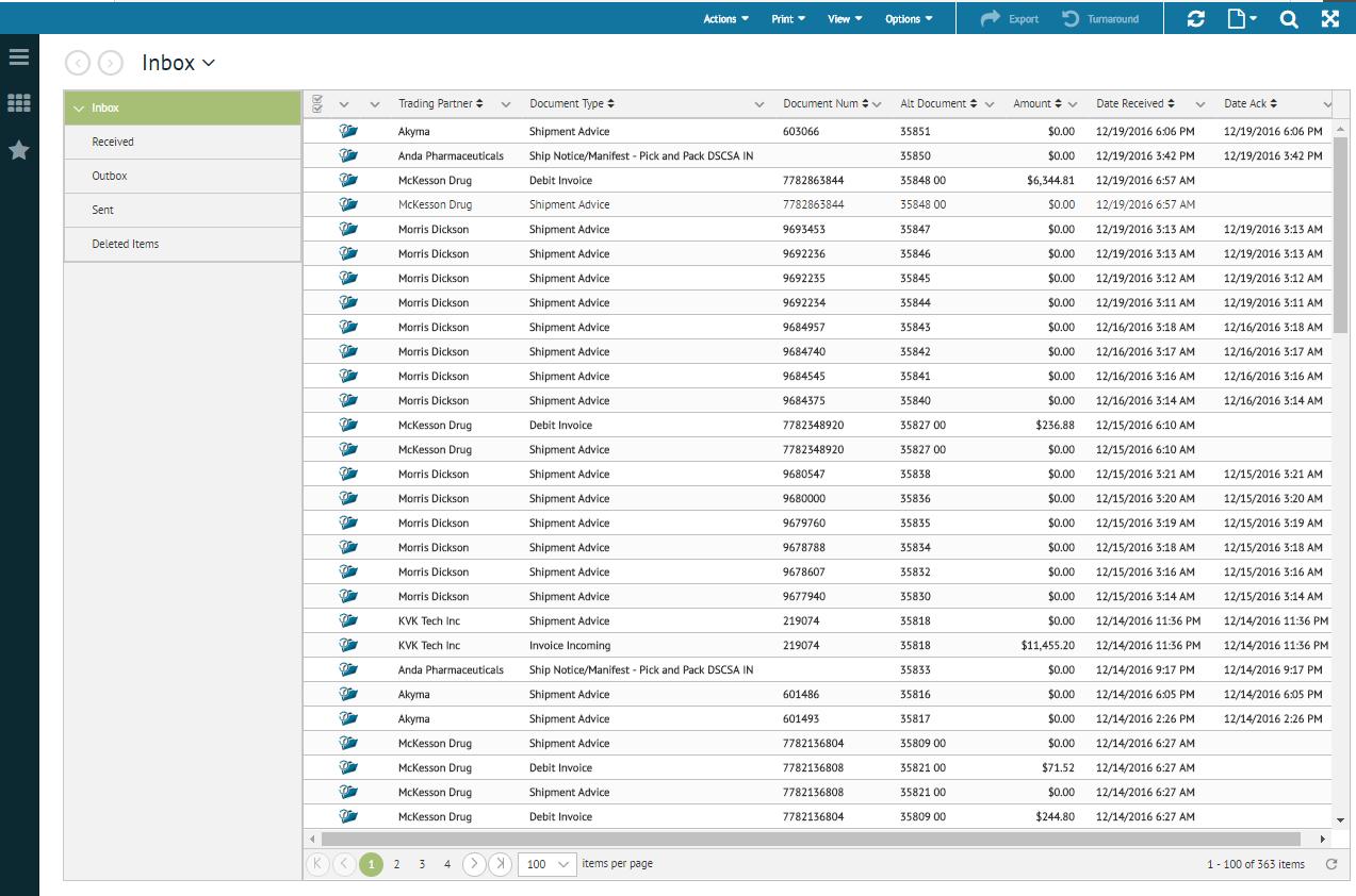 TrueCommerce EDI Solutions - TrueCommerce EDI Solutions inbox screenshot