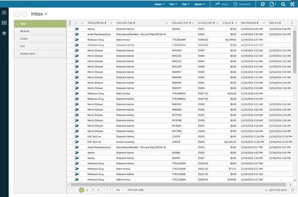 TrueCommerce EDI Solutions inbox screenshot
