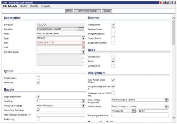 Descartes Route Planner On-demand schedule screenshot