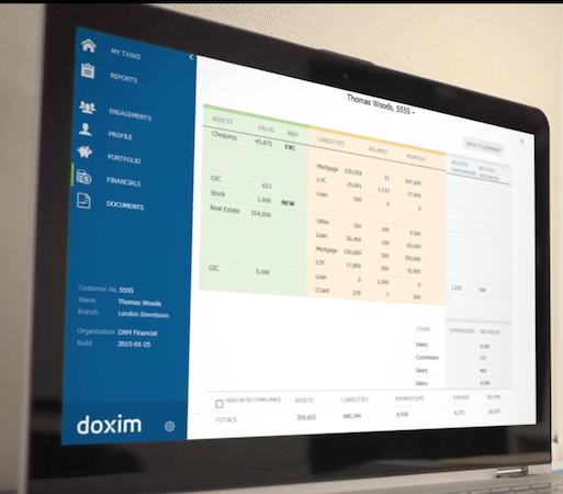 Doxim financial reporting screenshot