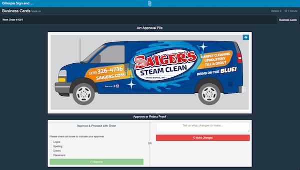 shopVOX online proofing screenshot
