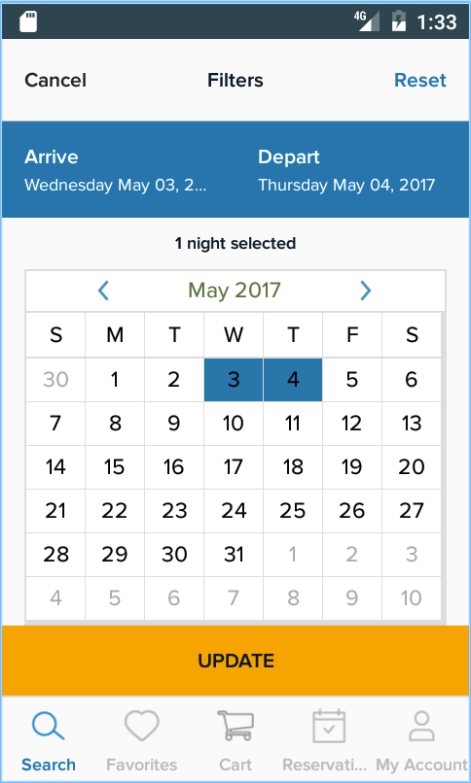 Select arrival and departure dates