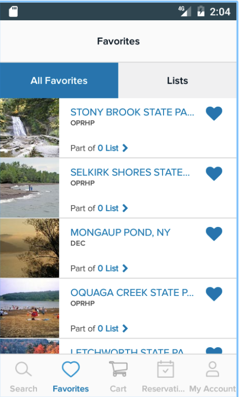 Bookmark favorite campgrounds