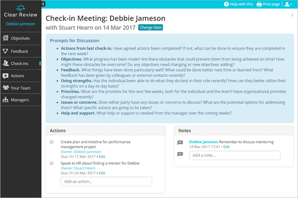 Clear Review check-in meeting screenshot