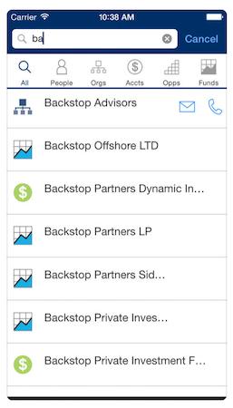 Backstop search functionality screenshot