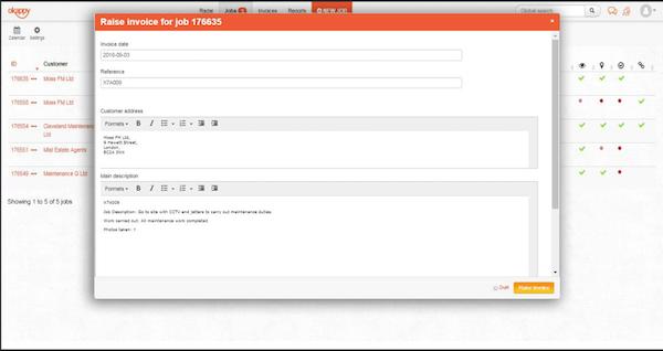 Okappy invoicing screenshot