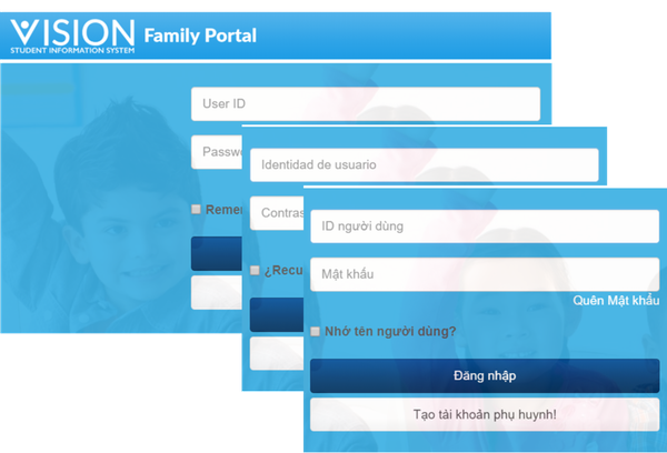 Vision SIS family portal screenshot