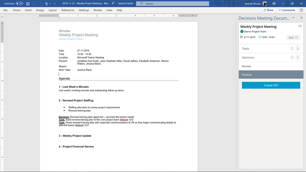 Decisions meeting minutes recording using Microsoft Word