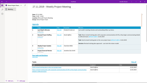 Decisions for OneNote