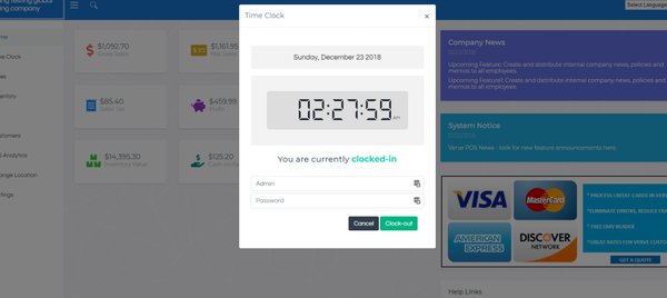 Verve Point of Sale time clock