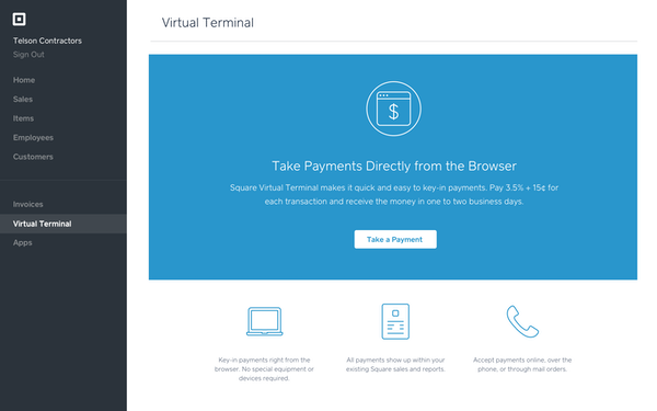 Square Payments virtual terminal