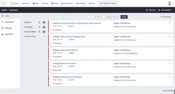 CiviHR onboarding and exiting screenshot