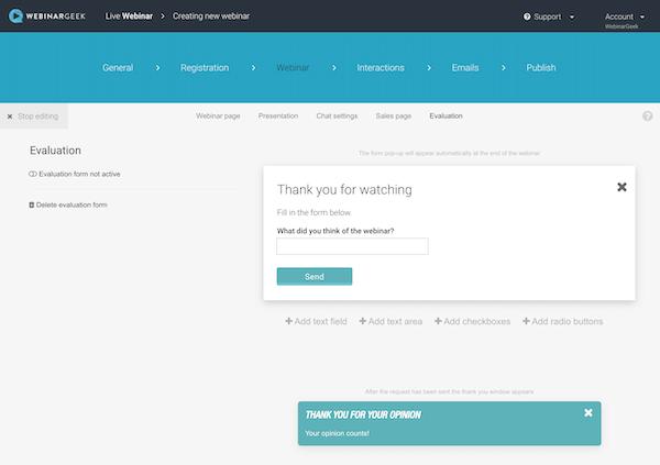 WebinarGeek feedback form
