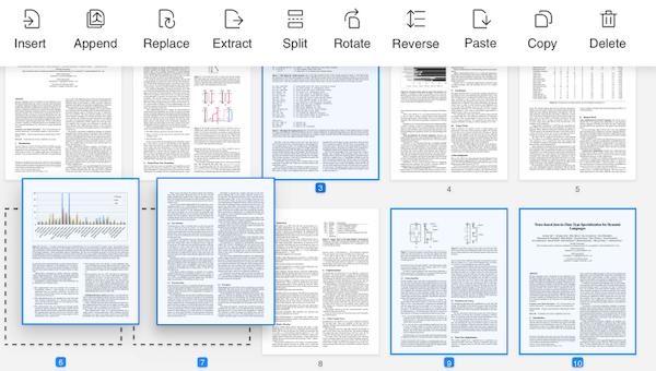 PDF Reader Pro arranging PDFs