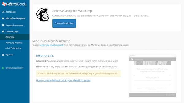 ReferralCandy Mailchimp integration screenshot