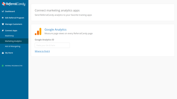 ReferralCandy Google Analytics screenshot