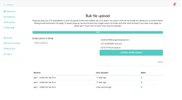 mailfloss bulk file upload
