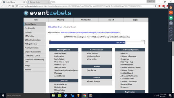 EventRebels Online Registration control center screenshot