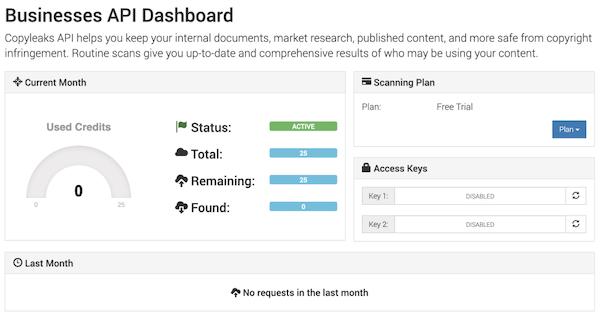 Copyleaks business dashboard