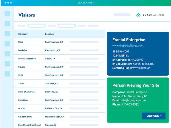 LeadLander visitor information