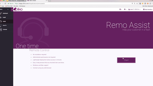 Remo start page
