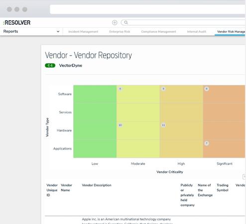 Vendor Risk Management Software vendor repository screenshot