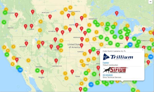 JobBoardHQ interactive job maps screenshot