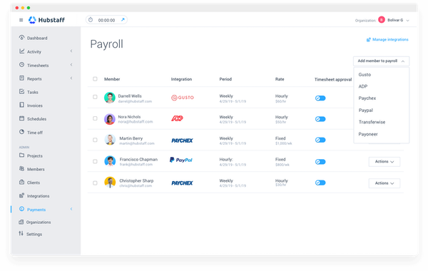Hubstaff - Hubstaff payroll management screenshot