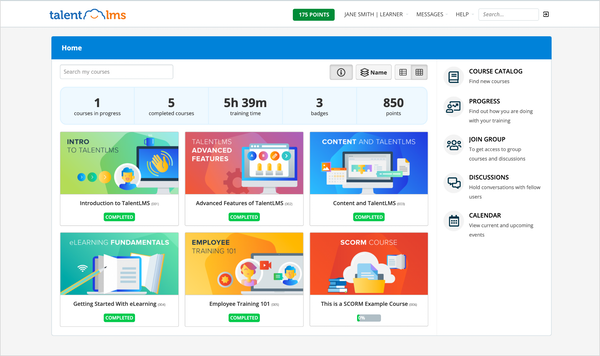 TalentLMS Learner Dashboard